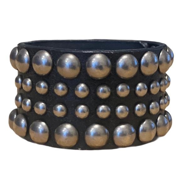 Vintage Black /& Chrome Fetish Bangle Bracelet